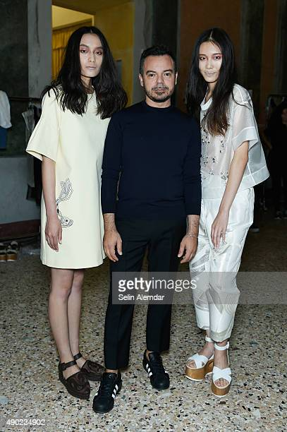 Alberto Zambelli and models are seen backstage ahead of the Alberto Zambelli show during Milan Fashion Week Spring/Summer 2016 on September 27 2015...