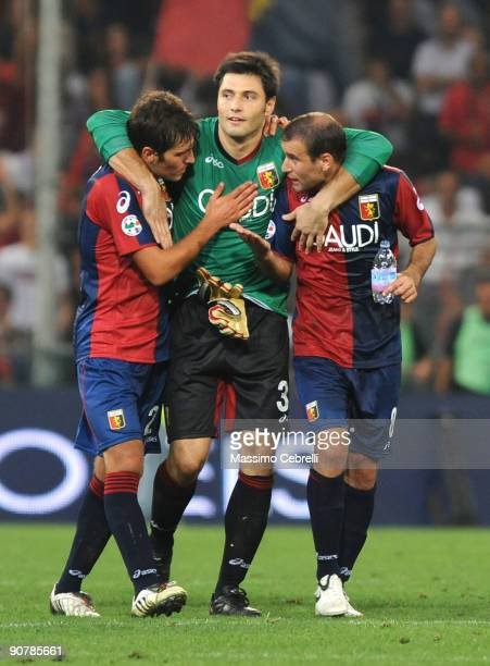 Alberto Zapater, Marco Amelia and Rodrigo Palacio of Genoa CFC celebrate the victory after the Serie A match between Genoa CFC and SSC Napoli at...
