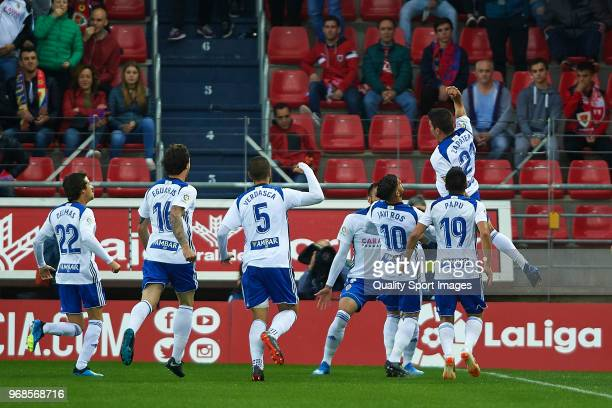 Alberto Zapater of Real Zaragoza celebrates scoring his team's first goal during the La Liga 123 play off match between CD Numancia de Soria and Real...