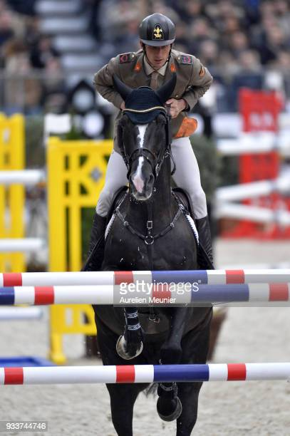 Alberto Zorzi of Italia on Ego van Orti competes during the Saut Hermes at Le Grand Palais on March 18 2018 in Paris France