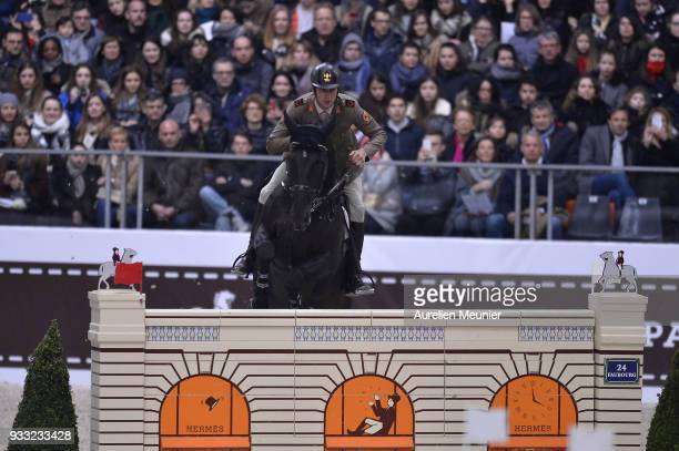 Alberto Zorzi of Italia on Viceversa De La Roque competes during the Saut Hermes at Le Grand Palais on March 17 2018 in Paris France
