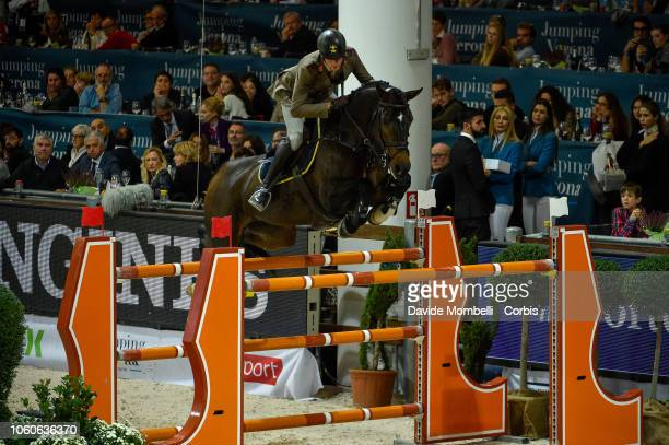 Alberto Zorzi of Italy riding Contanga 3 during the Longines FEI Jumping World Cup Verona 2018 CSI5*W on October 28 2018 in Verona Italy