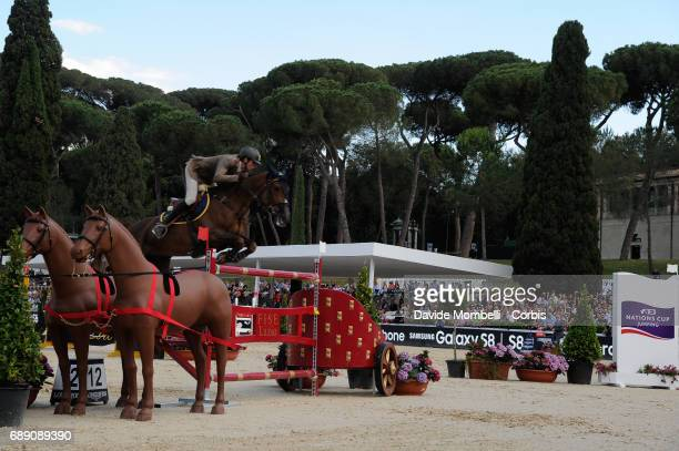 Alberto Zorzi of Italy riding Fair Light Van T Heike during the FEI Nations Cup Piazza di Siena on May 26 2017 in Villa Borghese Rome Italy