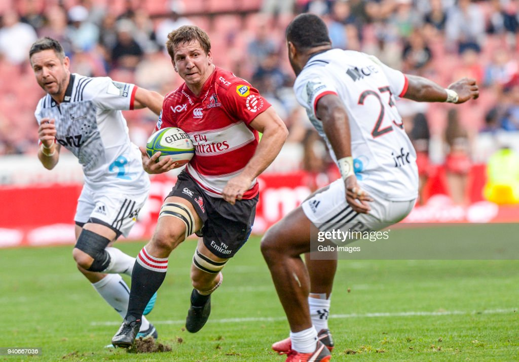 Albertus Kwagga Smith of the Lions with possession during the Super Rugby match between Emirates Lions and Crusaders at Emirates Airline Park on April 01, 2018 in Johannesburg, South Africa.