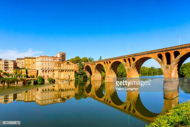albi in southwestern france. albi is a world heritage unesco site. albi is famous for toulouse-lautrec and the cathedral saint cecile. view of the tarn river and the cathedral saint cecile. - languedoc rousillon stock pictures, royalty-free photos & images