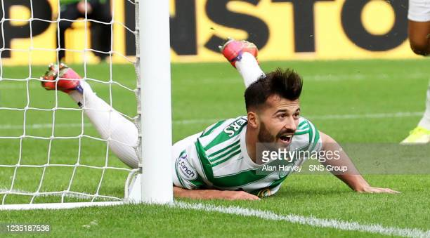 Albian Ajeti celebrates after scoring to make it 3-0 during a cinch Premiership match between Celtic and Ross County at Celtic Park on September 11...