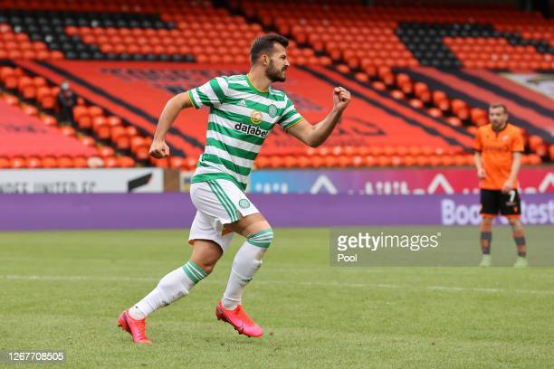 Albian Ajeti of Celtic celebrates after scoring his team's first goal during the Ladbrokes Scottish Premiership match between Dundee United and...