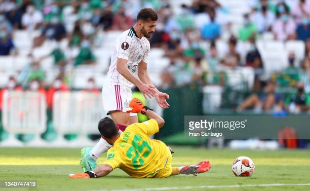 Albian Ajeti of Celtic is fouled by Claudio Bravo of Real Betis leading to a penalty being awarded during the UEFA Europa League group G match...