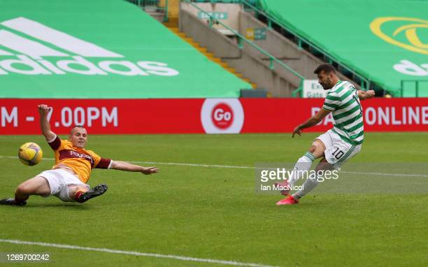 Albian Ajeti of Celtic scores his team's second goal during the Ladbrokes Scottish Premiership match between Celtic and Motherwell at Celtic Park on...