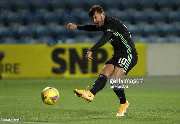 Albian Ajeti of Celtic scores their side's fourth goal during the Ladbrokes Scottish Premiership match between Kilmarnock and Celtic at Rugby Park on...