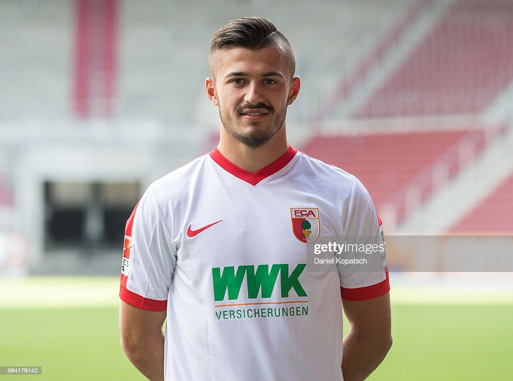 Albian Ajeti poses during the Team Presentation of FC Augsburg on July 28, 2016 in Augsburg, Germany.