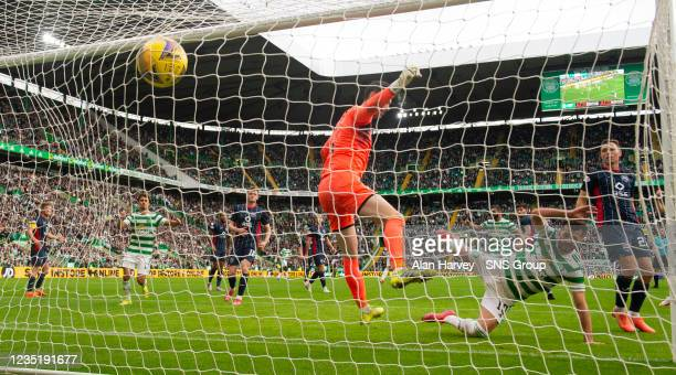 Albian Ajeti scores to make it 2-0 Celtic during a cinch Premiership match between Celtic and Ross County at Celtic Park on September 11 in Glasgow,...