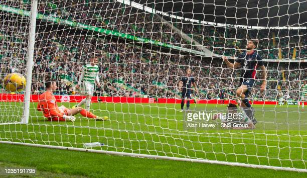 Albian Ajeti scores to make it 3-0 Celtic during a cinch Premiership match between Celtic and Ross County at Celtic Park on September 11 in Glasgow,...