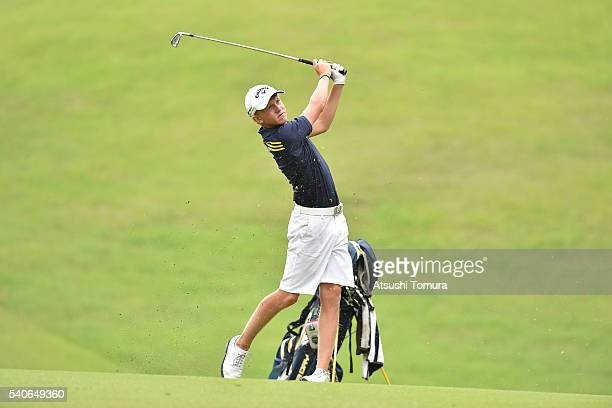 Albin Bergstrom of Sweden hits his second shot on the 7th hole during the third round of 2016 TOYOTA Junior Golf World Cup at Ishino Course Chukyo...