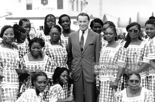 Albin Chalandon PDG du groupe Elf Aquitaine en mars 1983 au Congo