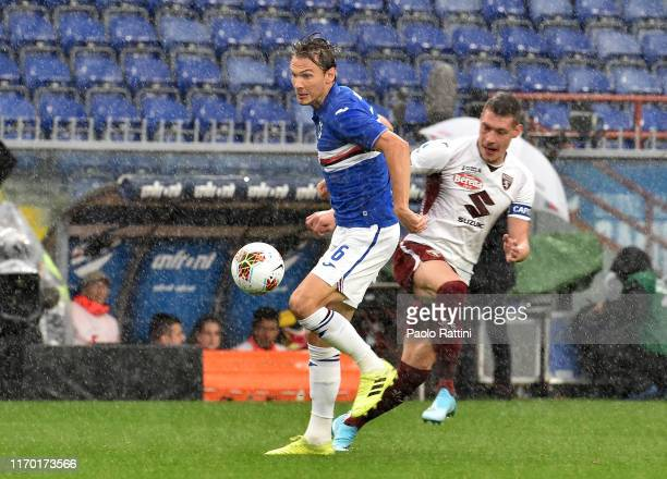 Albin Ekdakl of UC Sampdoria and Andrea Belotti of Torini FC during the Serie A match between UC Sampdoria and Torino FC at Stadio Luigi Ferraris on...