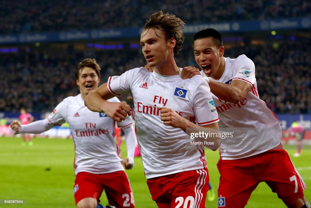 Albin Ekdal of Hamburg celebrates after scoring his teams first goal during the Bundesliga match between Hamburger SV and Hertha BSC at Volksparkstadion on March 5, 2017 in Hamburg, Germany.