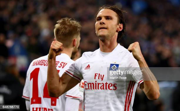 Albin Ekdal of Hamburg celebrates after scoring his teams first goal during the Bundesliga match between Hamburger SV and Hertha BSC at...