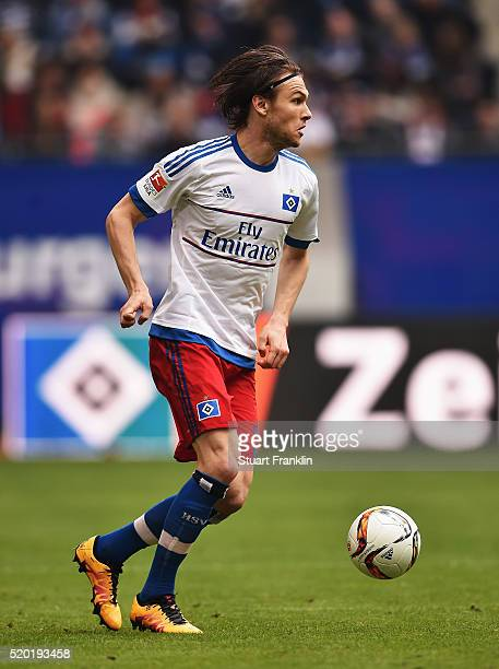 Albin Ekdal of Hamburg in action during the Bundesliga match between Hamburger SV and SV Darmstadt 98 at Volksparkstadion on April 9 2016 in Hamburg...