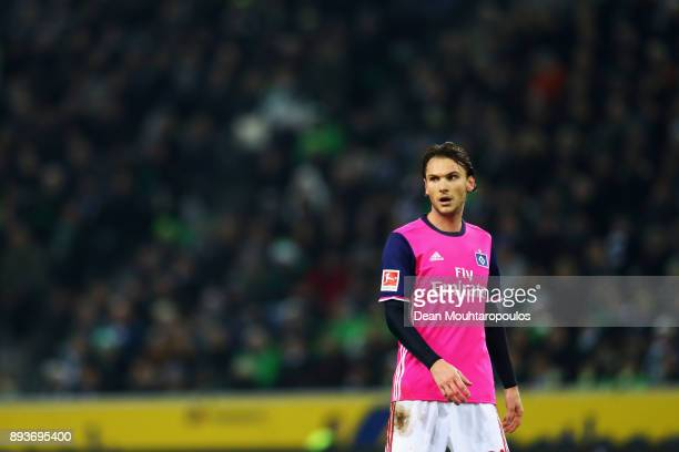 Albin Ekdal of Hamburg looks on during the Bundesliga match between Borussia Moenchengladbach and Hamburger SV at BorussiaPark on December 15 2017 in...