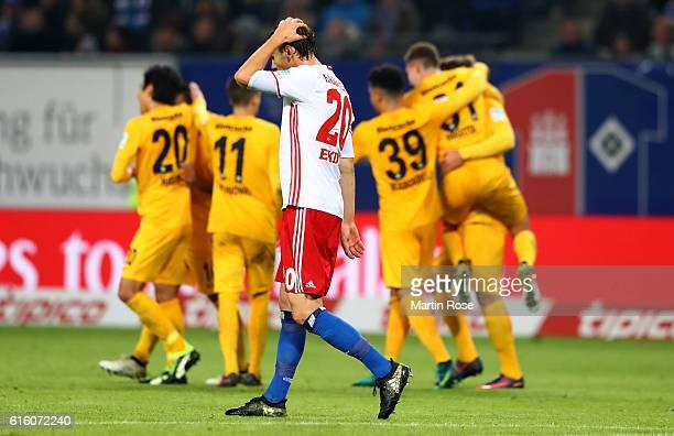 Albin Ekdal of Hamburg reacts during the Bundesliga match between Hamburger SV and Eintracht Frankfurt at Volksparkstadion on October 21 2016 in...