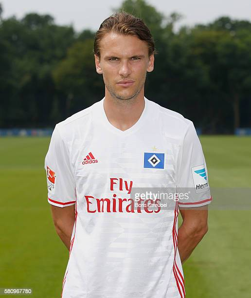 Albin Ekdal of Hamburger SV poses during the Hamburger SV Team Presentation at Volksparkstadion on July 25 2016 in Hamburg Germany