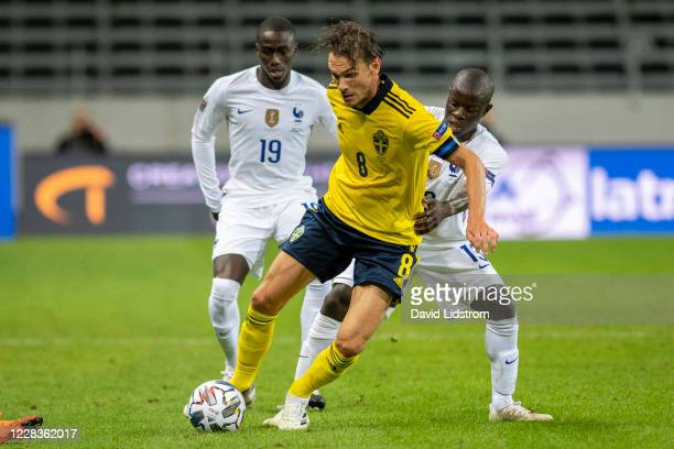 Albin Ekdal of Sweden and N'Golo Kanté of France during the UEFA Nations League group stage match between Sweden and France at Friends Arena on...