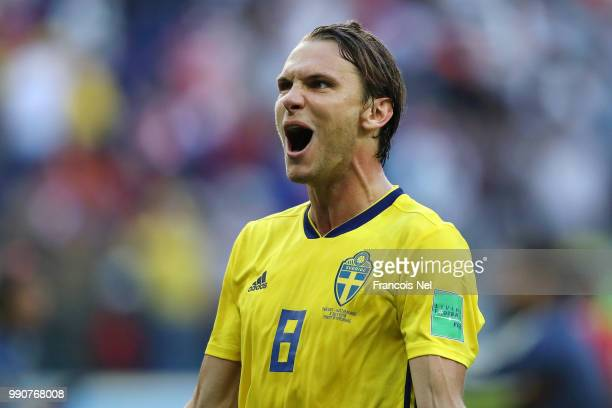 Albin Ekdal of Sweden celebrates following his sides victory in the 2018 FIFA World Cup Russia Round of 16 match between Sweden and Switzerland at...