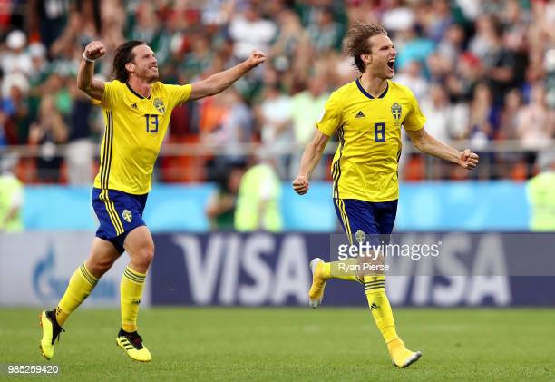 Albin Ekdal of Sweden celebrates victory with teammate Gustav Svensson during the 2018 FIFA World Cup Russia group F match between Mexico and Sweden...