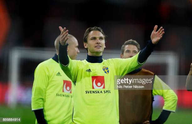 Albin Ekdal of Sweden cheers to the fans after the FIFA 2018 World Cup Qualifier between Netherlands and Sweden at Amsterdam ArenA on October 10 2017...