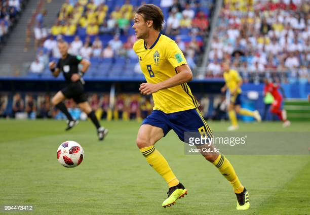 Albin Ekdal of Sweden during the 2018 FIFA World Cup Russia Quarter Final match between Sweden and England at Samara Arena on July 7 2018 in Samara...