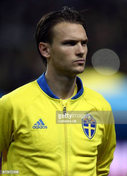 Albin Ekdal of Sweden during the FIFA 2018 World Cup Qualifier PlayOff First Leg between Sweden and Italy at Friends arena on November 10 2017 in...