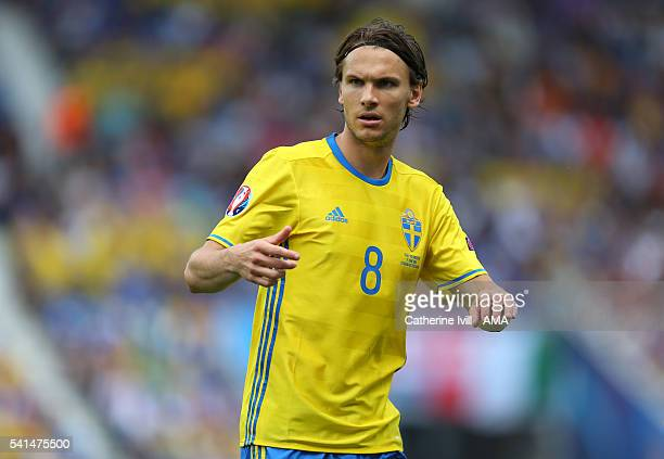 Albin Ekdal of Sweden during the UEFA EURO 2016 Group E match between Italy and Sweden at Stadium Municipal on June 17 2016 in Toulouse France