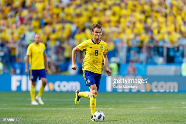 Albin Ekdal of Sweden in action during the 2018 FIFA World Cup Russia group F match between Sweden and Korea Republic at Nizhny Novgorod Stadium on...