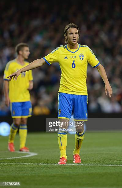 Albin Ekdal of Sweden in action during the FIFA 2014 World Cup Qualifying Group C match between Republic of Ireland and Sweden at Aviva Stadium on...
