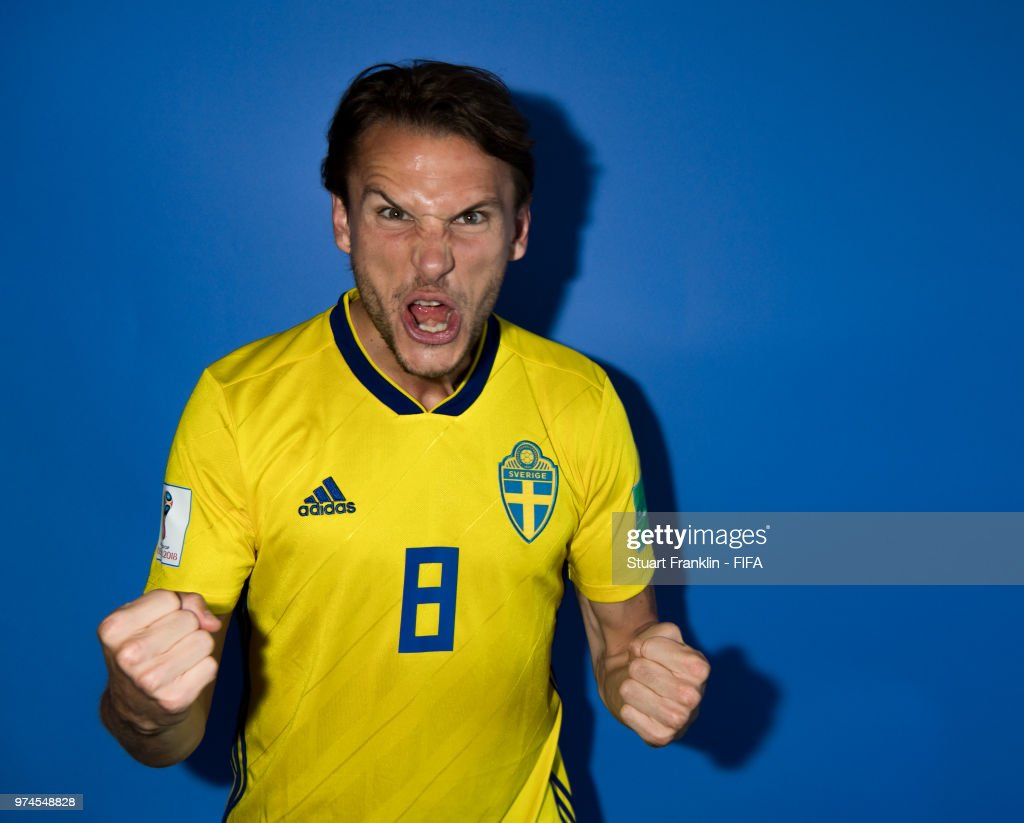 Albin Ekdal of Sweden poses for a photograph during the official FIFA World Cup 2018 portrait session at on June 13, 2018 in Gelendzhik, Russia.