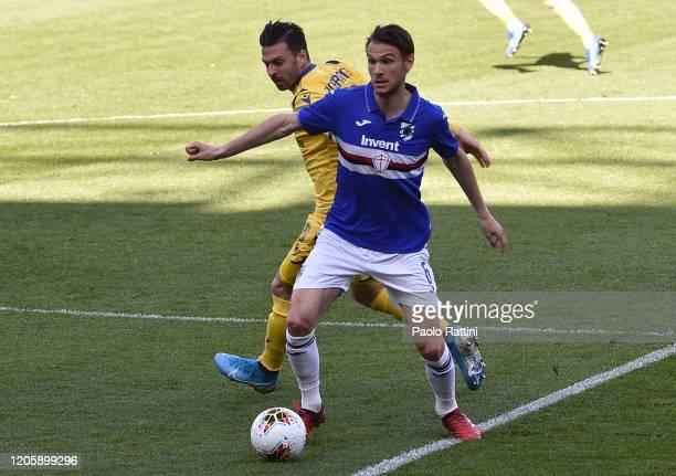 Albin Ekdal of UC Sampdoria and Samuel Di Carmine of Hellas Verona during the Serie A match between UC Sampdoria and Hellas Verona at Stadio Luigi...