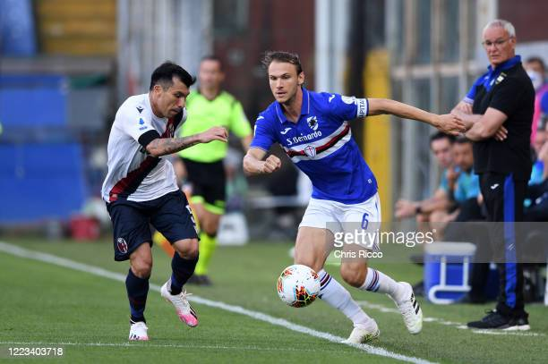 Albin Ekdal of UC Sampdoria challenged by Gary Medel of Bologna FC during the Serie A match between UC Sampdoria and Bologna FC at Stadio Luigi...