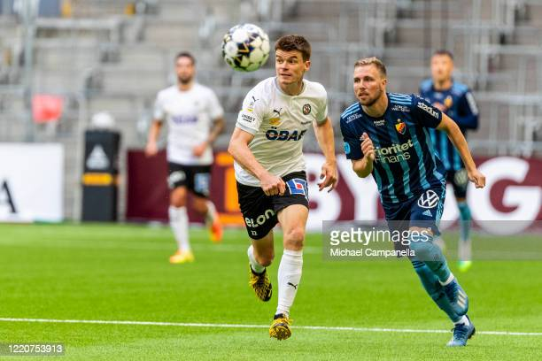 Albin Granlund of Orebro SK runs with the ball during an Allsvenskan match between Djurgardens IF and Orebro SK at Tele2 Arena on June 17 2020 in...