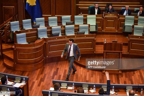 Albin Kurti Leader of Vetevendosje party attends a parliamentary session in Pristina on August 24 2017 Kosovo parliament failed on August 24 to elect...