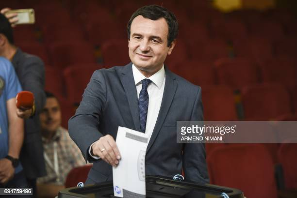 Albin Kurti prime minister candidate and leader of the main Kosovar opposition party SelfDetermination casts his ballot at a polling station in...