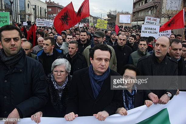Albin Kurti the exleader of Vetevendosje together with Nusrete Kumnova the head of Kosovo's missing people Asociation during protest in Pristina...