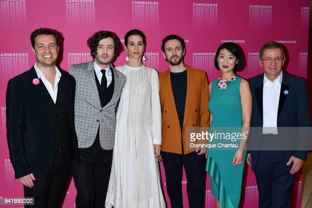 Albin Lewi Alexander Vlahos Elisa Lasowski Grorge Blagden from the 'Versailles' tv show Fleur Pellerin and Benoit Louvet attend opening ceremony the...