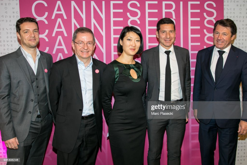 Albin Lewi, Benoit Louvet, Fleur Pellerin, David Lisnard and Christian Estrosi attend the 'CanneSeries 2018' press conference on March 13, 2018 in Paris, France.