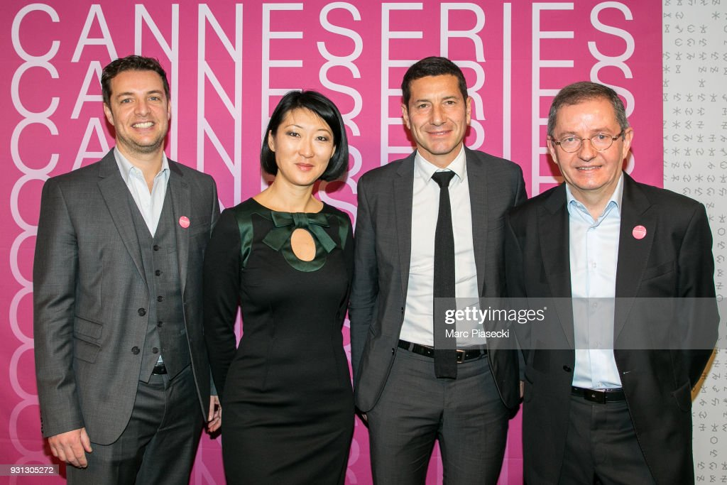 Albin Lewi, Fleur Pellerin, David Lisnard and Benoit Louvet attend the 'CanneSeries 2018' press conference on March 13, 2018 in Paris, France.