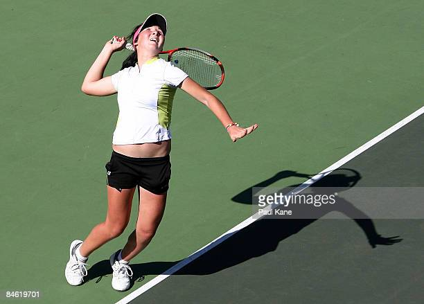 Albina Bhambri of Uzbekistan serves during the doubles match of the first round Fed Cup draw between Uzbekistan and Indonesia at The State Tennis...