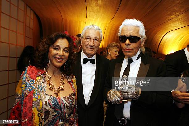 Albina de Boisrouvray Georges Cassati and Karl Lagerfeld pose at the 2007 Monte Carlo Rose Ball at the MonteCarlo Sporting Club on March 24 2007 in...