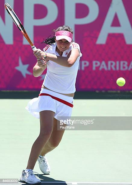 Albina Khabibulina of Uzbekistan serves to Dianne Hollands of New Zealand during day two of the Fed Cup Asia/Oceania Zone Group 1 2 match at the...