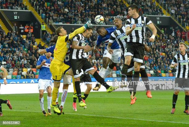 Albino Bizzari goalkeeper of Udinese Calcio saves to Duvan Zapata of during the Serie A match between Udinese Calcio and UC Sampdoria at Stadio...
