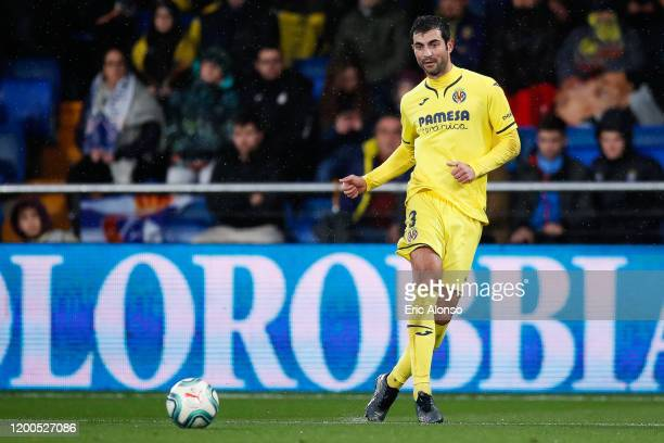 Albiol of Villareal FC passes the ball during the Liga match between Villarreal CF and RCD Espanyol at Estadio de la Ceramica on January 19, 2020 in...